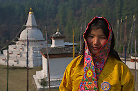 Traditional Bhutanese women near a stupa between Trongsa to Thimphu,Bhutan.