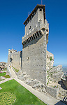 The First Tower in San Marino, Italy. The Three Towers of San Marino are a group of towers located in the small European country of San Marino. The First Tower also known as The Guaita is the oldest of the three towers, and the most famous. It was constructed in the 11th century and served briefly as a prison.