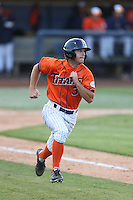 Tyler Stieb (3) of the Cal State Fullerton Titans runs to first base during a game against the Cal Poly Mustangs at Goodwin Field on April 2, 2015 in Fullerton, California. Cal Poly defeated Cal State Fullerton, 5-0. (Larry Goren/Four Seam Images)
