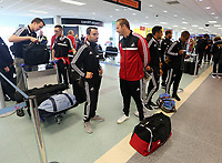 Wednesday 07 August 2013<br /> Pictured L-R: Leon Britton and Lee Trundle at Cardiff Airport.<br /> Re: Swansea City FC travelling to Sweden for their Europa League 3rd Qualifying Round, Second Leg game against Malmo.