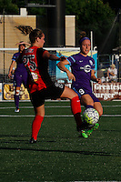 Rochester, NY - Saturday June 11, 2016: Western New York Flash forward Meredity Speck, Orlando Pride forward Josee Belanger (9) during a regular season National Women's Soccer League (NWSL) match between the Western New York Flash and the Orlando Pride at Rochester Rhinos Stadium.