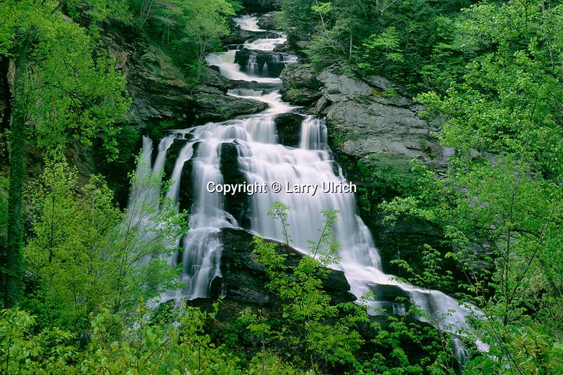Cullasaja Falls, Cullasaja Canyon<br />   from Highway 64<br /> Nantahala National Forest<br /> Appalachian Mountains, North Carolina