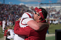 Hawgs Illustrated/BEN GOFF <br /> Cole Kelley, Arkansas quarterback, and Dan Enos, Arkansas offensive coordinator, celebrate after defeating Ole Miss Saturday, Oct. 28, 2017, at Vaught-Hemingway Stadium in Oxford, Miss.