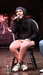 """Gabriella Sorrentino during the eduHAM Q & A before The Rockefeller Foundation and The Gilder Lehrman Institute of American History sponsored High School student #EduHam matinee performance of """"Hamilton"""" at the Richard Rodgers Theatre on October 30, 2019 in New York City."""