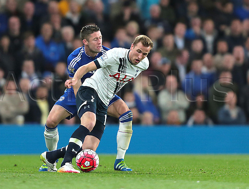 02.05.2016. Stamford Bridge, London, England. Barclays Premier League. Chelsea versus Tottenham Hotspur. Tottenham Hotspur Forward Harry Kane feels pressure from Chelsea Defender Gary Cahill