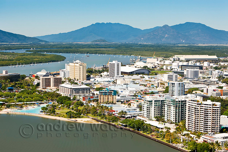 Aerial view of Esplanade and central business district.  Cairns, Queensland, Australia