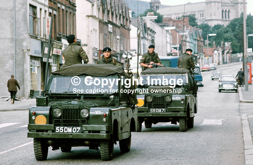 British Army mobile patrol, Crumlin Road, Belfast, N Ireland, September, 1971, 197109000431h.<br />