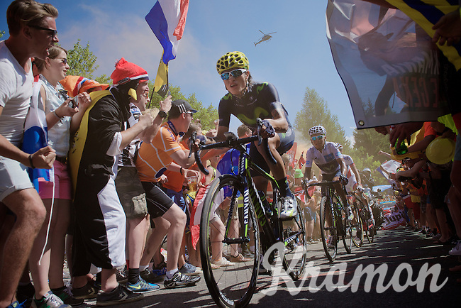 Winner Anacona (COL/Movistar) making way for team leader Nairo Quintana (COL/Movistar) through the craziness at the Dutch Corner (nr7) up Alpe d'Huez<br /> <br /> stage 20: Modane Valfréjus - Alpe d'Huez (111km)<br /> 2015 Tour de France