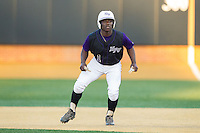 Josh Greene (1) of the High Point Panthers takes his lead off of first base against the Wake Forest Demon Deacons at Wake Forest Baseball Park on April 2, 2014 in Winston-Salem, North Carolina.  The Demon Deacons defeated the Panthers 10-6.  (Brian Westerholt/Four Seam Images)