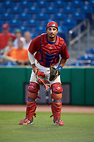 Clearwater Threshers catcher Edgar Cabral (30) during a game against the Jupiter Hammerheads on April 9, 2018 at Spectrum Field in Clearwater, Florida.  Jupiter defeated Clearwater 9-4.  (Mike Janes/Four Seam Images)