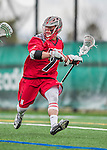 18 April 2015: University of Hartford Hawk Attacker Jaedon Henderson, a Sophomore from Ithaca, NY, in action against the University of Vermont Catamounts at Virtue Field in Burlington, Vermont. The Cats defeated the Hawks 14-11 in the final home game of the 2015 season. Mandatory Credit: Ed Wolfstein Photo *** RAW (NEF) Image File Available ***