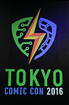 """Logo of """"Tokyo Comic Con 2016"""" is seen in Tokyo, Japan, on December 4, 2015. The inaugural Tokyo Comic Con will take place at the Mukahari Messe Convention Center from December 3-4, 2016. (Photo by Pasya/AFLO)"""