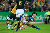 9th September 2017, nib Stadium, Perth, Australia; Supersport Rugby Championship, Australia versus South Africa; Michael Hooper Captain of the Australian Wallabies tackles Jan Serfontein of the South African Springboks before he gets to the try line during the second half