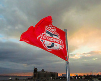 Flag of Toronto FC flies at sunset during an international friendly match between the USAWNT and the PRCWNT at PPL Park, on October 6 2010 in Chester, PA.
