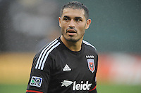 Washington D.C. - March 29, 2014: Fabian Espindola (9) of D.C. United.  The Chicago Fire tied D.C. United 2-2 during a Major League Soccer match for the 2014 season at RFK Stadium.