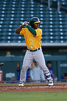 AZL Athletics Gold Joshwan Wright (4) at bat during an Arizona League game against the AZL Cubs 1 at Sloan Park on June 20, 2019 in Mesa, Arizona. AZL Athletics Gold defeated AZL Cubs 1 21-3. (Zachary Lucy/Four Seam Images)