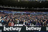 2nd November 2019; London Stadium, London, England; English Premier League Football, West Ham United versus Newcastle United; West Ham United fans stand for a minute silence before kick off - Strictly Editorial Use Only. No use with unauthorized audio, video, data, fixture lists, club/league logos or 'live' services. Online in-match use limited to 120 images, no video emulation. No use in betting, games or single club/league/player publications