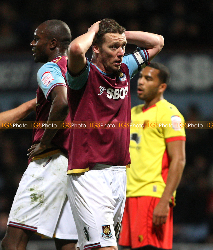 Kevin Nolan of West Ham hold his head - West Ham United vs Watford, npower Championship at Upton Park, West Ham - 07/03/12 - MANDATORY CREDIT: Rob Newell/TGSPHOTO - Self billing applies where appropriate - 0845 094 6026 - contact@tgsphoto.co.uk - NO UNPAID USE..