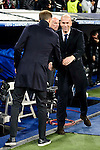 Real Madrid's Coach Zinedine Zidane and Borussia Dortmund coach Thomas Tuchel during the UEFA Champions League match between Real Madrid and Borussia Dortmund at Santiago Bernabeu Stadium in Madrid, Spain. December 07, 2016. (ALTERPHOTOS/BorjaB.Hojas)