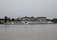 General view of the Uniworld ship S.S. Bon Voyage berthed on the River Garonne, Bordeaux, Nouvelle-Aquitaine, France on 16.10.19.