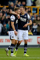 Millwall goalscorer Tom Bradshaw and Jed Wallace celebrate their victory at the final whistle during Millwall vs Leeds United, Sky Bet EFL Championship Football at The Den on 5th October 2019