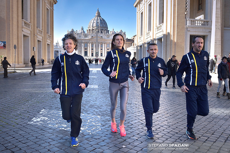 Athletica Vaticana:From the left Sister Marie Théo, Camille Chenaux Daughter of Professor Philippe Chenaux of the Pontifical Lateran University, Massimiliano Coluccio and Mirko Taliani, Vatican Administration Office.29 January 2019