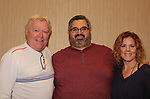 Fan Michael Guzman poses with Guiding Light's Liz Keifer and Jerry verDorn host Bloss Brunch on October 8, 2017 - a part of the Guiding Light Daytime Stars and Strikes for Autism weekend at the Residence Inn, Secaucus, New Jersey. (Photo by Sue Coflin/Max Photo)