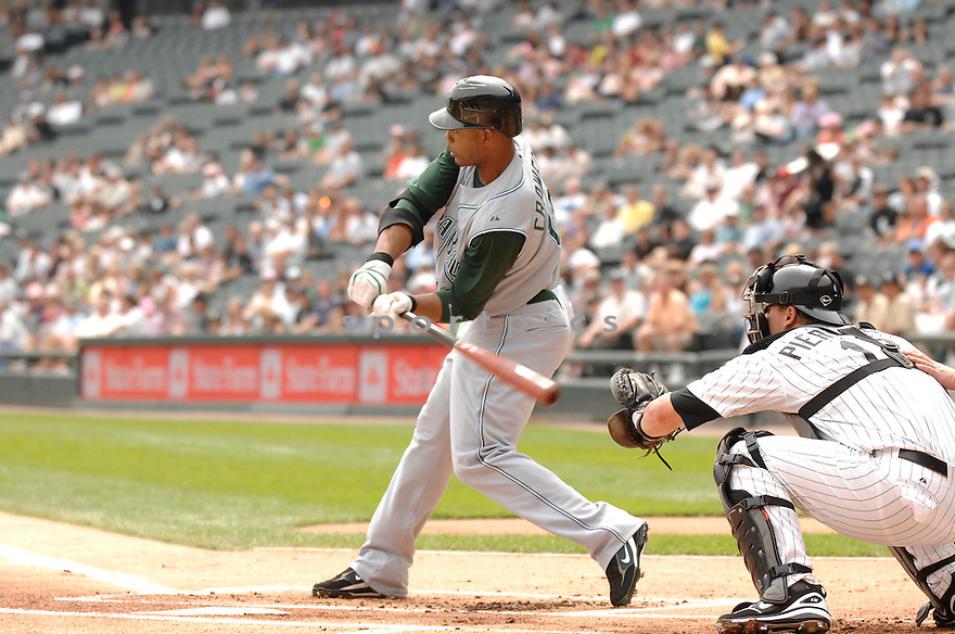 CARL CRAWFORD, of the Tampa Bay Devil Rays, in action during the Devil Rays game against the Chicago White Sox  in Chicago on August 27, 2007.  The White Sox won the game 5-4............