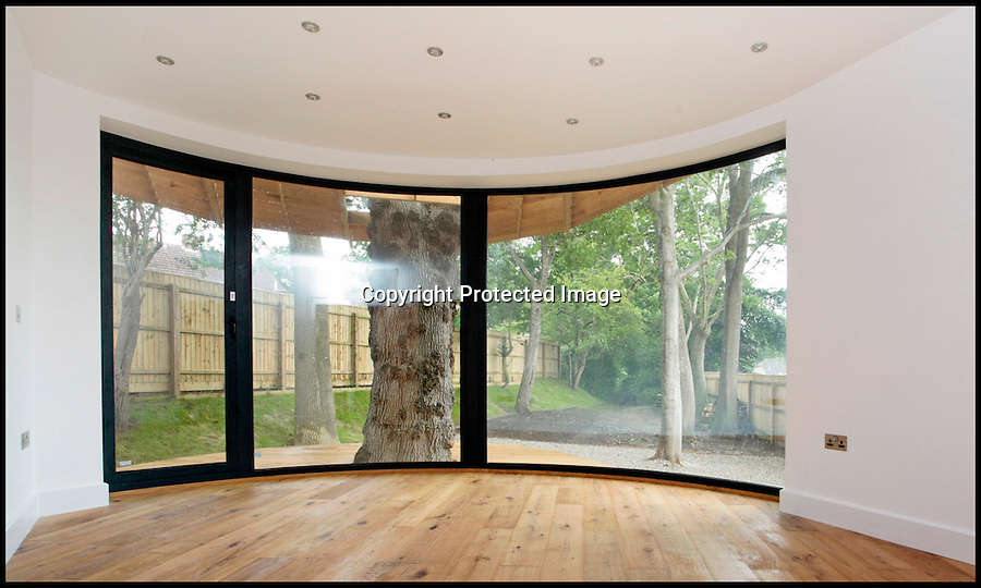 BNPS.co.uk (01202) 558833<br /> Picture: ChestertonHumberts/BNPS<br /> <br /> ****Please use full byline****<br /> <br /> A stunning house that has been built around five ancient oak trees has gone on the market for &pound;700,000.<br /> <br /> The contemporary property has been built to look like three separate cabins that are nestled in the heart of a quiet forest.<br /> <br /> Each of the pods have their own beautiful verandas which are constructed around enormous trees that measure around 60ft tall.<br /> <br /> The cabins may appear to be individual woodland retreats but they are actually joined up by glass walkways to create one large, sprawling home.<br /> <br /> The house, which has been dubbed The Lodge, has four bedrooms, four bathrooms, a dressing room, and an open-plan kitchen, diner, and sitting room.<br /> <br /> The eco-friendly property has been built with stainless steel gutters that collect rain to water the trees and has an air source heating unit.<br /> <br /> The building, located in Beaminster, Dorset, backs on to landscaped gardens and a wildlife walk area.