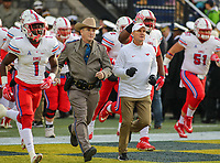 Annapolis, MD - November 11, 2017: Southern Methodist Mustangs head coach Chad Morris runs on  the field before the game between SMU and Navy at  Navy-Marine Corps Memorial Stadium in Annapolis, MD.   (Photo by Elliott Brown/Media Images International)