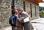 The Bhutanese Prime Minister, Jigmi Y Thinley hugs Gunter Pauli after the first GNH meeting in Thimphu, Bhutan. Photo: Sanjit Das/Panos