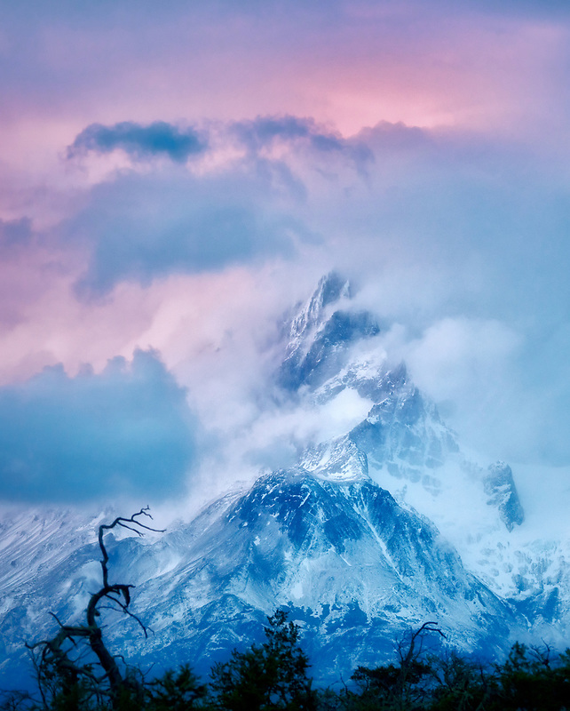 Paine Mastiff mountain at sunrise . Torres del Paine National Park, Chile, Patagonia