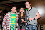 Enjoying The KY Comedy Alternative night at the Abbey Inn in aid of  Tralee Soup Kitchen on Thursday were Niall Fitzgerald,Sinead Murray and Dermot O'Sullivan