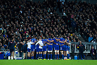 The France team huddles before during the Steinlager Series international rugby match between the New Zealand All Blacks and France at Eden Park in Auckland, New Zealand on Saturday, 9 June 2018. Photo: Dave Lintott / lintottphoto.co.nz