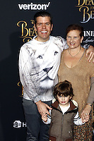 www.acepixs.com<br /> <br /> March 2 2017, LA<br /> <br /> Perez Hilton, Teresita Lavandeira and Mario Armando Lavandeira III arriving at the premiere of Disney's 'Beauty And The Beast' at the El Capitan Theatre on March 2, 2017 in Los Angeles, California.<br /> <br /> By Line: Famous/ACE Pictures<br /> <br /> <br /> ACE Pictures Inc<br /> Tel: 6467670430<br /> Email: info@acepixs.com<br /> www.acepixs.com