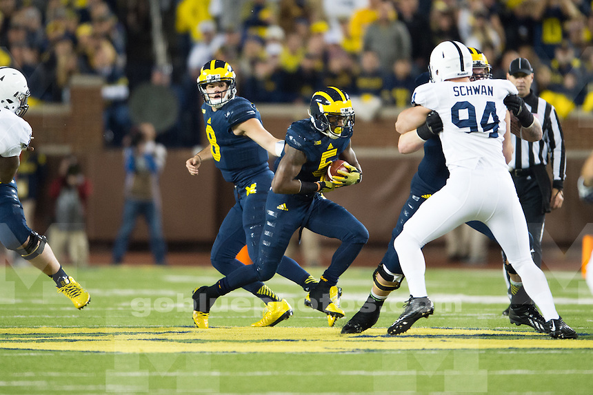 The University of Michigan football team defeats Penn State, 18-13, at Michigan Stadium on Oct. 11 2014.