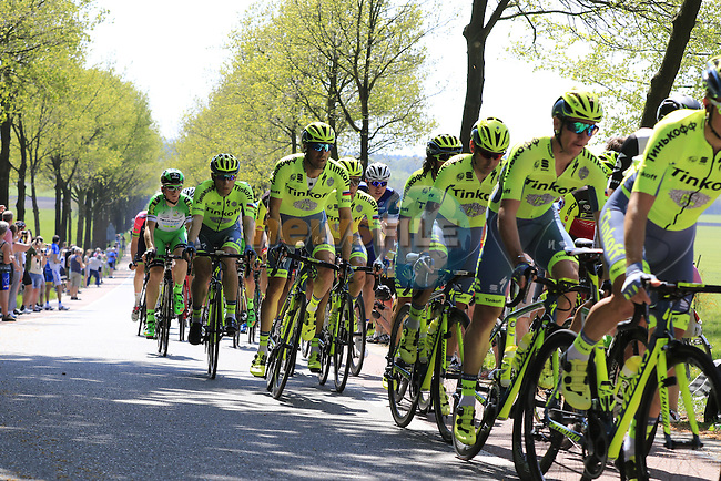 The peloton including Tinkoff team at Deelen during Stage 2 of the 2016 Giro d'Italia running 190km from Arnhem to Nijmegen, The Nethrerlands. 7th May 2016.<br /> Picture: Eoin Clarke | Newsfile<br /> <br /> <br /> All photos usage must carry mandatory copyright credit (&copy; Newsfile | Eoin Clarke)