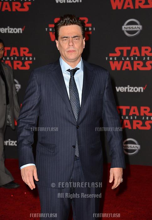 Benicio del Toro at the world premiere for &quot;Star Wars: The Last Jedi&quot; at the Shrine Auditorium. Los Angeles, USA 09 December  2017<br /> Picture: Paul Smith/Featureflash/SilverHub 0208 004 5359 sales@silverhubmedia.com
