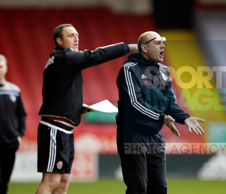 Assistant coach Dean Wilkins in action during the Sky Bet League One match at The Bramall Lane Stadium.  Photo credit should read: Simon Bellis/Sportimage