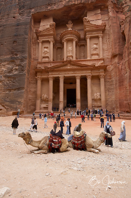 The huge Treasury (Al-Khazneh), created by the Nabataeans in the 1st century BC, is the most impressive and iconic monument in Petra.<br />