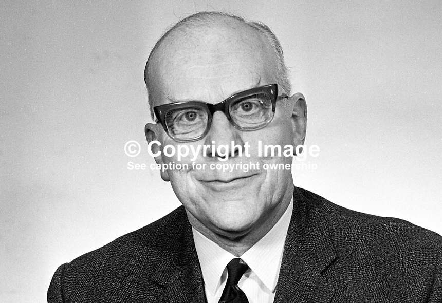 Albert Anderson, MP, Londonderry City, Ulster Unionist, elected 1969 to N Ireland Parliament, Stormont, Belfast, March 1969, 196903000132<br />