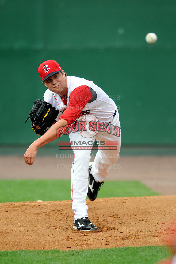 Lowell Spinners' pitcher Brian Johnson #46 prepares for his first professional start versus the State College Spikes at LeLacheur Park in Lowell, Massachusetts on July 29, 2012. He was a first round draft pick of the Boston Red Sox out of the University of Florida, taken 31st overall.  (Ken Babbitt/Four Seam Images)