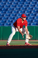 Clearwater Threshers first baseman Damek Tomscha (21) during a game against the Dunedin Blue Jays on April 7, 2017 at Spectrum Field in Clearwater, Florida.  Dunedin defeated Clearwater 7-4.  (Mike Janes/Four Seam Images)