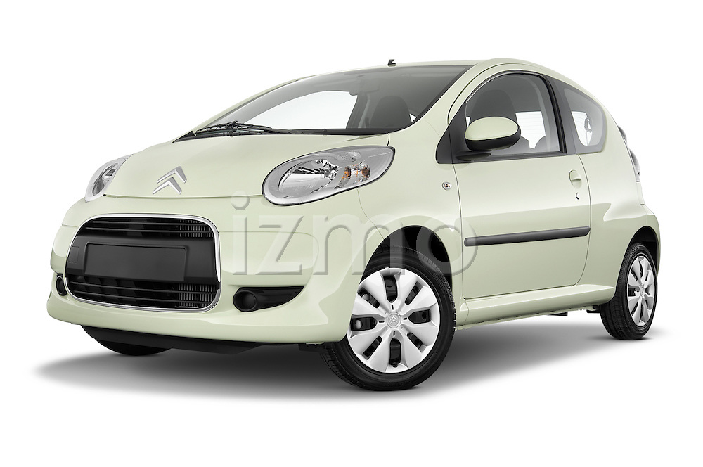 Low aggressive front three quarter view of a 2009 - 2012 Citroen C1 Airplay 3-Door Hatchback.