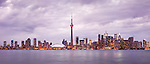 Toronto downtown skyline at sunset, CN tower, panoramic city scenery. Toronto, Ontario, Canada 2013