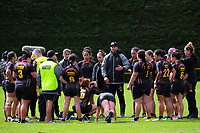 The Hamilton team huddles during the 2017 1st XV rugby Top Four girls' final between St Mary's College and Hamilton Girls' High School at Sport and Rugby Institute in Palmerston North, New Zealand on Sunday, 10 September 2017. Photo: Dave Lintott / lintottphoto.co.nz