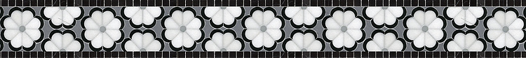 """Edie, a natural stone waterjet 4 1/2"""" mosaic border shown in Thassos, Nero Marquina and honed Carrara, is part of the Silk Road® collection by New Ravenna."""