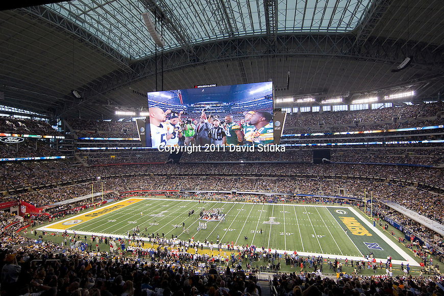 A general view of Cowboys Stadium during the coin toss of the Pittsburgh Steelers Super Bowl XLV football game against the Green Bay Packers on Sunday, February 6, 2011, in Arlington, Texas. The Packers won 31-25. (AP Photo/David Stluka)