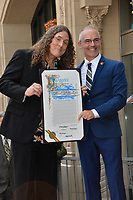 LOS ANGELES, CA. August 27, 2018: Weird Al Yankovic & Mitch O'Farrell at the Hollywood Walk of Fame Star Ceremony honoring 'Weird Al' Yankovic.