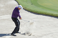 Ian Poulter (ENG) hits from the trap on 18 during round 1 of the Arnold Palmer Invitational at Bay Hill Golf Club, Bay Hill, Florida. 3/7/2019.<br />